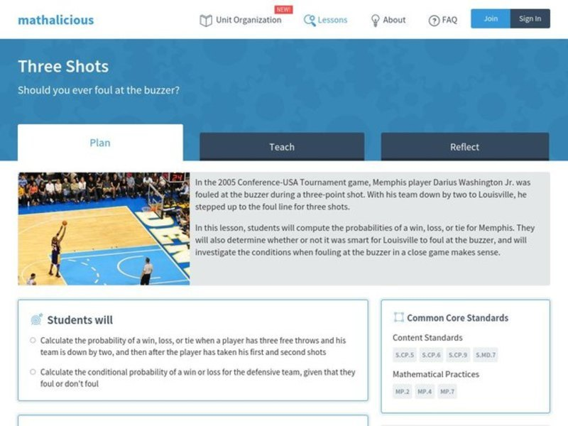 Three Shots Lesson Plan