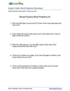 3rd Grade Math Word Problems Worksheets Collection | Lesson ...