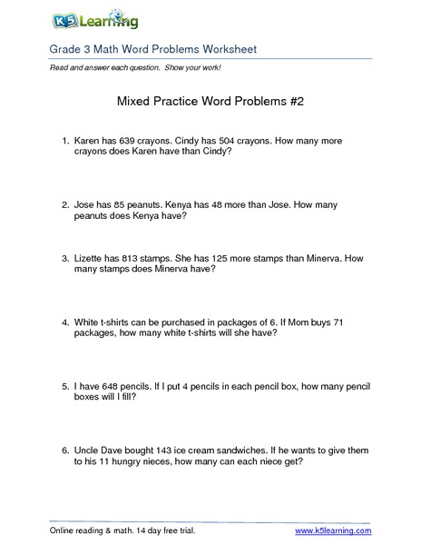 Mixed Practice Word Problems #2 Worksheet for 2nd - 4th