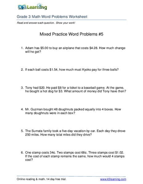 Grade 2 Money Word Problem Worksheets K5 Learning - Earn Money On Instagram
