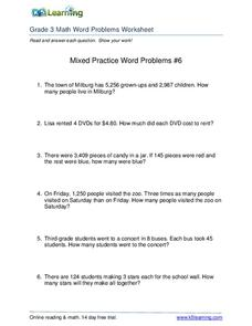 Mixed Practice Word Problems #6 Worksheet