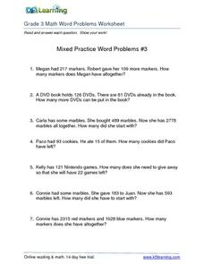 Mixed Practice Word Problems #3 Worksheet
