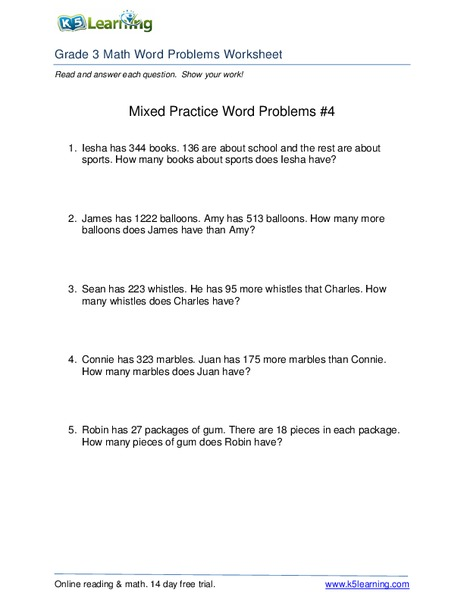Mixed Practice Word Problems #4 Worksheet