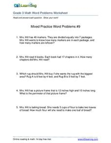 Mixed Practice Word Problems #9 Worksheet