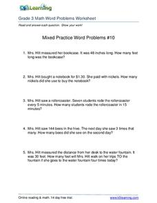 Mixed Practice Word Problems #10 Worksheet