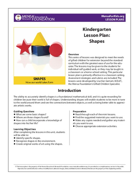 Shapes - Kindergarten Unit