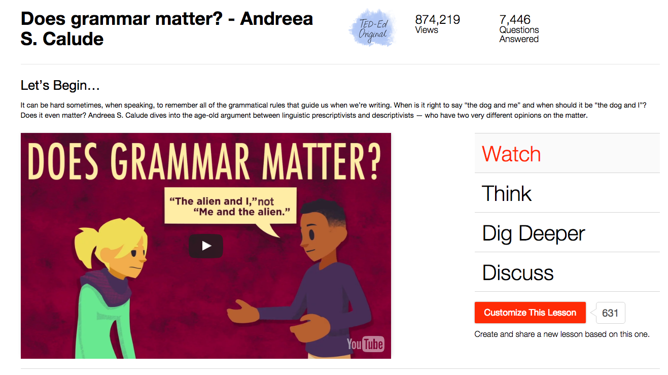 Does Grammar Matter? Video