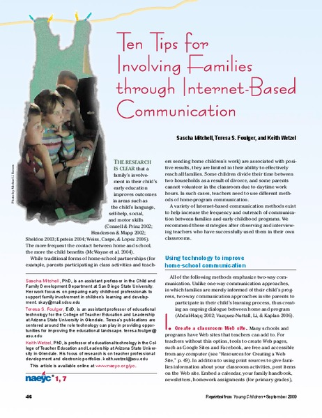 Ten Tips for Involving Families through Internet-Based Communication Handouts & Reference