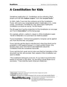 A Constitution for Kids Worksheet