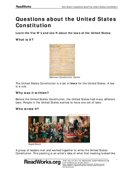 Questions about the United States Constitution Worksheet