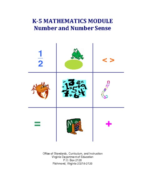 K-5 Mathematics Module: Number and Number Sense Activities & Project