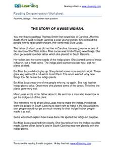 The Story of a Wise Woman Worksheet