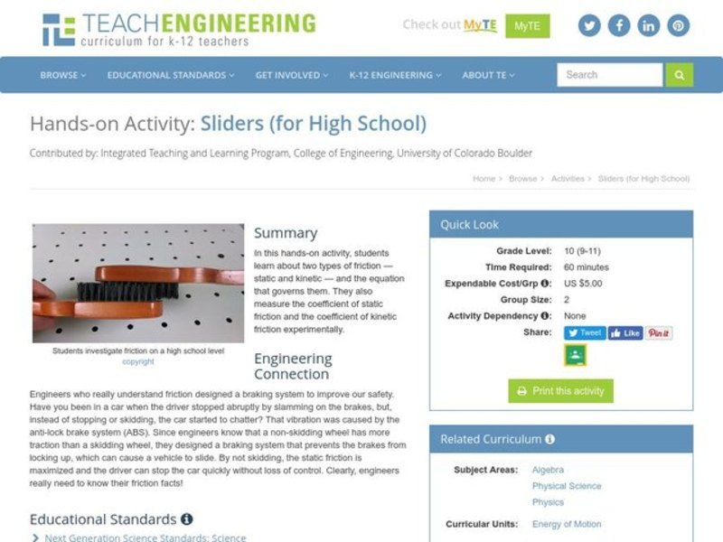 Sliders (for High School) Activities & Project