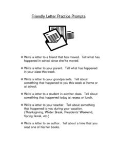 Friendly Letter Practice Prompts Writing Prompt