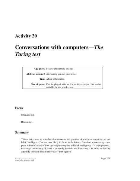 Conversations with Computers—The Turing Test Activities & Project