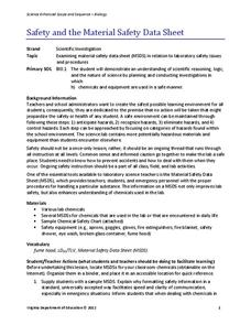 Safety and the Material Safety Data Sheet Lesson Plan