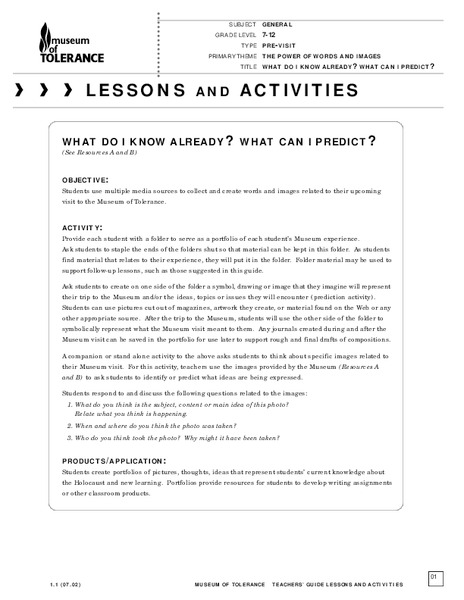 What Do I Know Already? What Can I Predict? Lesson Plan