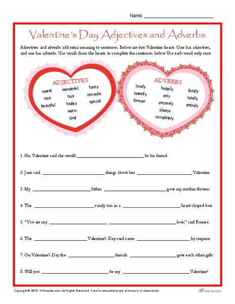 Valentine's Day Adjectives and Adverbs Worksheet