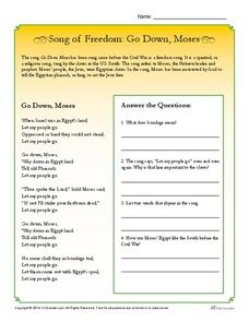 Song of Freedom: Go Down, Moses Worksheet