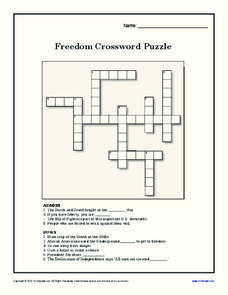 Freedom Crossword Puzzle Worksheet