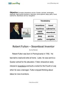 Robert Fulton – Steamboat Inventor Worksheet