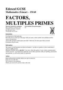 Factors, Multiples, and Primes Worksheet