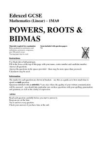 Powers, Roots, and BIDMAS Worksheet