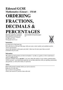 Ordering Fractions, Decimals, and Percentages Worksheet