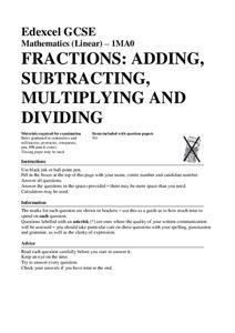 Fractions: Adding, Subtracting, Multiplying, and Dividing Worksheet