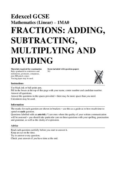 Fractions Adding Subtracting Multiplying And Dividing