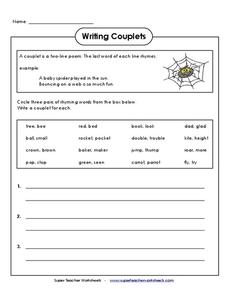 Couplet lesson plans worksheets lesson planet writing couplets writing prompt ibookread Download