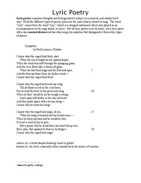 Lyric Poetry Lesson Plans & Worksheets Reviewed by Teachers