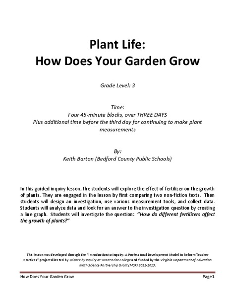 Plant Life: How Does Your Garden Grow Lesson Plan