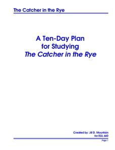 Studying The Catcher in the Rye Unit