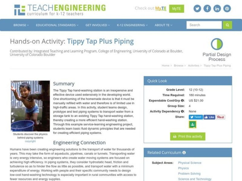 Tippy Tap Plus Piping Activities & Project