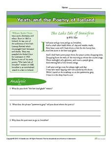 Yeats and the Poetry of Ireland Worksheet