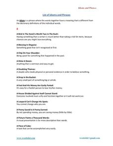 List of Idioms and Phrases Worksheet