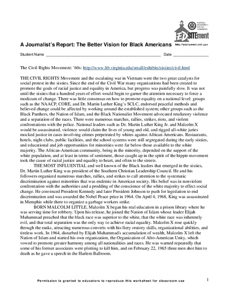A Journalist's Report: The Better Vision for Black Americans Worksheet