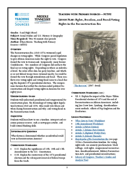 Fights, Freedom, and Fraud: Voting Rights in the Reconstruction Era Handouts & Reference