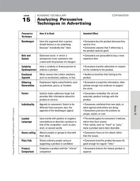 advertising techniques worksheet
