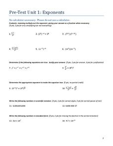 Pre-Test Unit 1: Exponents Assessment