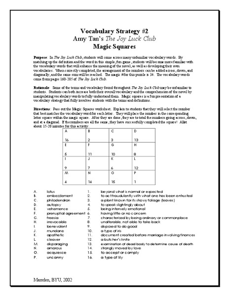 The Joy Luck Club: Vocabulary Strategy (Magic Squares) Lesson Plan
