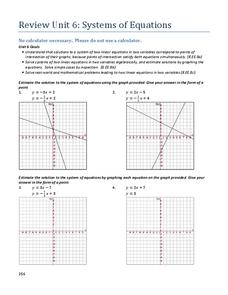 Review Unit 6: Systems of Equations Assessment