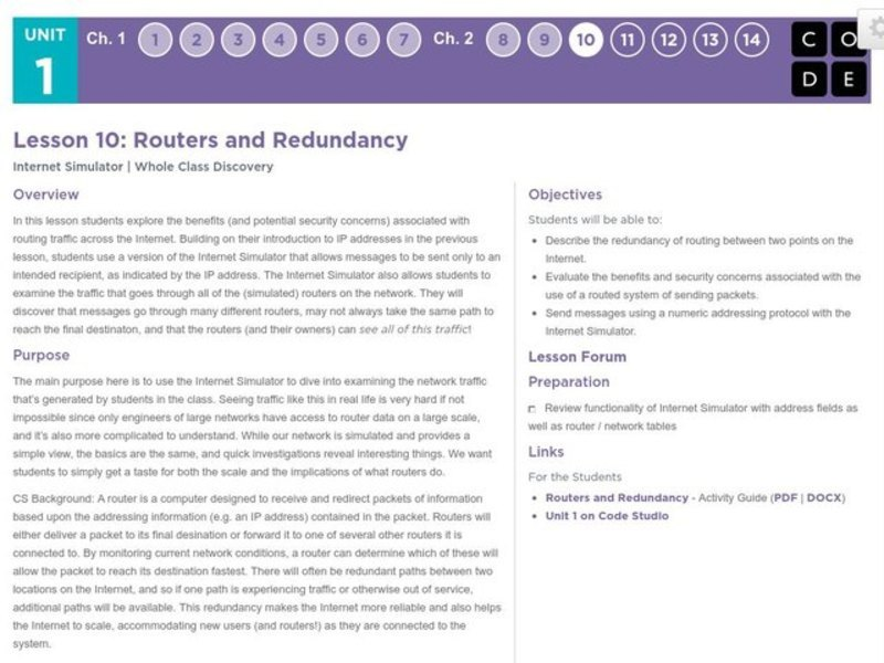 Routers and Redundancy Lesson Plan