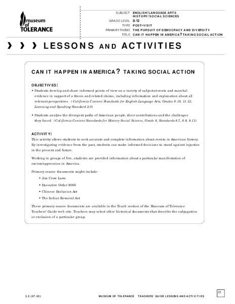 Can It Happen in America?: Taking Social Action Lesson Plan