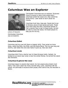 Columbus Was an Explorer Worksheet