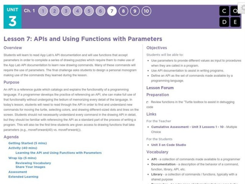 APIs and Using Functions with Parameters Lesson Plan