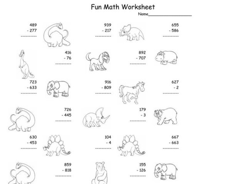 Fun Math Worksheet: Multiple Digit Subtraction 10 Worksheet