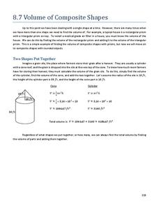 Volume of Composite Shapes Handouts & Reference