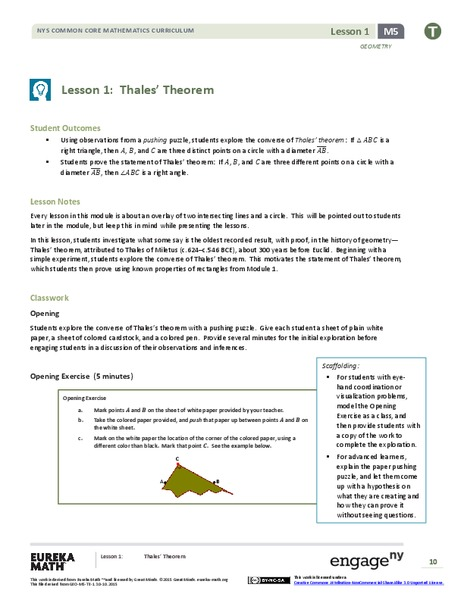 Thales' Theorem Lesson Plan